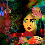 Stylized woman face  on a colored tropical  background,wine menu Royalty Free Stock Photo