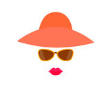 Stylized woman face from design elements - hat, sunglasses and lips. Royalty Free Stock Image