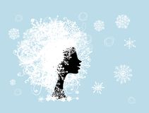 Stylized woman hairstyle with snowflake. Winter Stock Photography