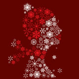 Stylized woman head, snowflakes. Winter season. Stock Images