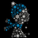 Stylized woman head, snowflakes. Winter season. Stock Image