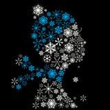 Stylized woman head, snowflakes. Winter season. royalty free illustration