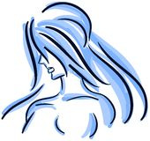 Stylized woman portrait isolated in blue tones Royalty Free Stock Photo