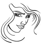 Stylized Womans Face. An illustrated face of a woman in Black and White Stock Images