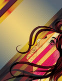Stylized woman's face looking up background Royalty Free Stock Image