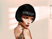 Stylized woman with short black hair Royalty Free Stock Photo
