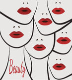 Stylized women faces with lips. Stylized artistic faces of women with red lips artistic (each face separate in vector Royalty Free Stock Photography