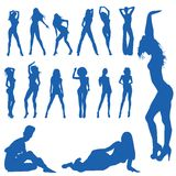 Stylized women silhouettes. Beautiful, hot and sexy girl vector silhouettes (vector Stock Photography