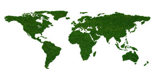 Stylized world map with grass on continents. 3D concept stylized world map with grass on continents Royalty Free Stock Photo