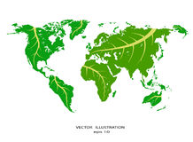 Stylized World Map With Eco Info Graphic Elements.