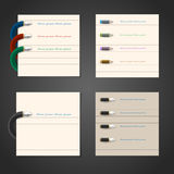 Stylized writing pen and pencil design for infographics, busines. S design,web design. Vector set Stock Photo