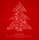 Stylized xmas tree on red back Royalty Free Stock Photos