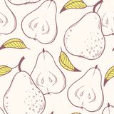 Stylized yellow pear seamless pattern Royalty Free Stock Images