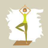Stylized yoga tree pose. Royalty Free Stock Photo