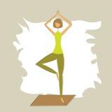 Stylized yoga tree pose. Royalty Free Stock Photo