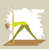 Stylized yoga triangle pose. Stock Photo