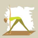 Stylized yoga triangle pose. Stock Photo