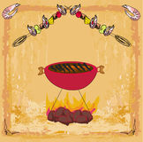 Stylized yummy shrimp kabob on the grill. Stylized yummy shrimp kabob on the grill,  illustration Stock Image