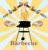Stylized yummy shrimp kabob on the grill. Stylized yummy shrimp kabob on the grill,  illustration Stock Photo