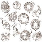 12 stylized zodiac signs. Stock Photos