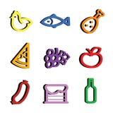 stylizować karmowe ikony Zdjęcie Royalty Free