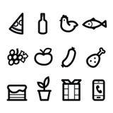 stylizować karmowe ikony Obrazy Stock