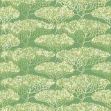 Stylizowana abstrakcjonistyczna jesieni drzewa ilustracja Tapetowy bezszwowy p Obraz Stock