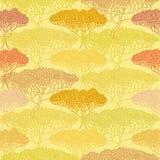 Stylizowana abstrakcjonistyczna jesieni drzewa ilustracja Tapetowy bezszwowy p Zdjęcia Royalty Free