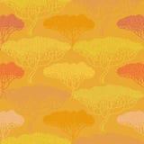 Stylizowana abstrakcjonistyczna jesieni drzewa ilustracja Tapetowy bezszwowy p Obrazy Stock