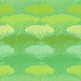 Stylizowana abstrakcjonistyczna jesieni drzewa ilustracja Tapetowy bezszwowy p ilustracja wektor