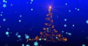 Stylizowana choinka z spada fajerwerkami od płatek śniegu, zdjęcie wideo