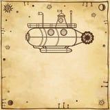 Stylizowana fantastyczna łódź podwodna Zdjęcia Royalty Free