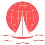 Stylizowana ikona barwiony jacht, żegluje nad fala na gl royalty ilustracja