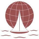 Stylizowana ikona barwiony jacht, żegluje nad fala na gl ilustracji