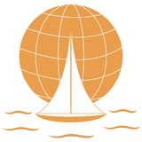 Stylizowana ikona barwiony jacht, żegluje nad fala na gl ilustracja wektor