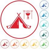 Stylizowana ikona turystyczny namiot Ilustracja Wektor