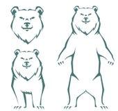 Stylizowana kreskowa ilustracja niedźwiedź Zdjęcia Royalty Free