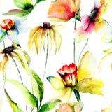 Stylizowana kwiat akwareli ilustracja Zdjęcie Royalty Free