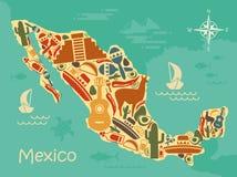 Stylizowana mapa Meksyk ilustracji