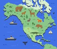 Stylizowana mapa Północna Ameryka z miejscowymi zwierzętami i natura symbolami Prosta geographical mapa Płaski wektor ilustracja wektor