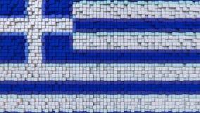 Stylizowana mozaiki flaga Grecja zrobił poruszający piksle, bezszwowy pętla ruchu tło royalty ilustracja