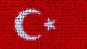 Stylizowana mozaiki flaga Turcja zrobił poruszający piksle, bezszwowy pętla ruchu tło ilustracji