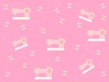 Stylizowana różowa szwalna maszyna z nicią ilustracja wektor