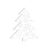 Stylizowana retro choinka z płatkiem śniegu. royalty ilustracja