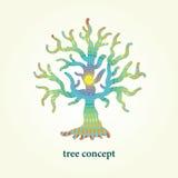 Stylizowana wektorowa drzewna ilustracja z wzorem inside Projektuje element dla loga, tła i plakata, Zdjęcie Royalty Free