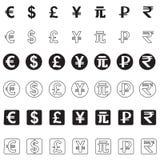 Stylizowane ikony różnorodne waluty ilustracja wektor