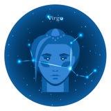 Stylizowane ikony zodiak podpisują wewnątrz nocne niebo z jaskrawym gwiazda gwiazdozbiorem w przodzie Obrazy Royalty Free
