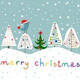 Stylizowanego Doodle Jedlinowych drzew ornamentów Baubles Gwiazdowego Lasowego opadu śniegu Kawaii Śliczny ptak w Święty Mikołaj  ilustracja wektor