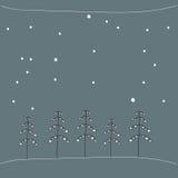 Stylizowani conifer drzewa w śniegu w lesie przy nocą abstrakcjonistycznych gwiazdkę tła dekoracji projektu ciemnej czerwieni wzo Zdjęcia Royalty Free