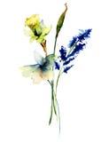 Stylizowani dzicy kwiaty ilustracji